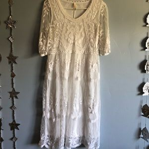 White midi lace dress.
